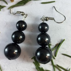 "Earrings ""Three Beads"" Shungite"