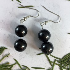 "Earrings ""Two Beads"" Shungite"