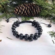 """Shungite """"Oriental"""" Bracelet, Double Row (Opposite Beads)"""
