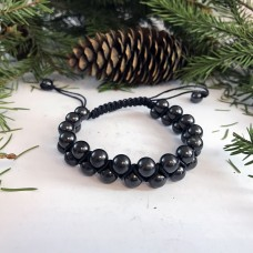 "Shungite ""Oriental"" Bracelet With Crosswise Rows"