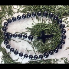 Shungite Rosary With A Cross (Length 6.3inches)