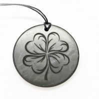 "Pendant with engraving ""Clover"" Of Mineral Shungite 50mm"