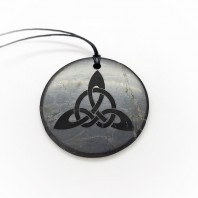 "Pendant with engraving ""Trefoil"" Of Mineral Shungite 50mm"