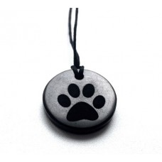 "Pendant with engraving ""Paw"" Of Mineral Shungite 30mm"