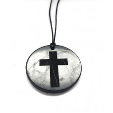 "Pendant with engraving ""Cross"" Of Mineral Shungite 50mm"