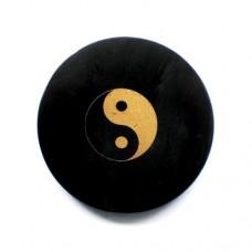 Plate Shungite,Circle, with print Yin & Yang 50mm